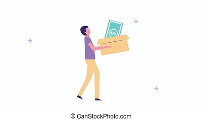 young businessman lifting box with bill money ,4k video animation