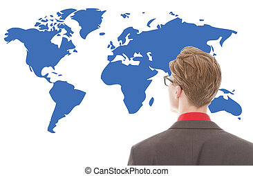 Young businessman looking at blue world map isolated on white background