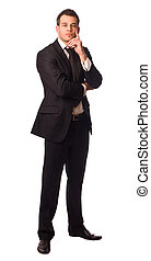 young businessman looking thoughtful isolated on white.