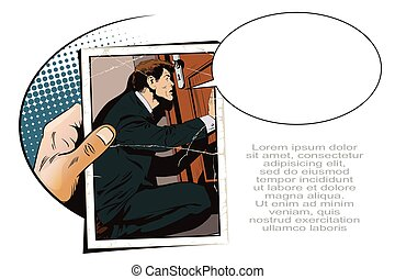 Young businessman looks into keyhole. Stock illustration. -...