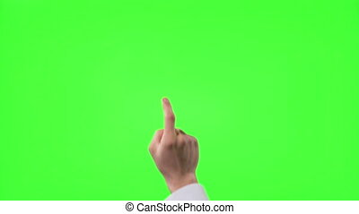 Young businessman making 12 touch screen hand gestures on green screen
