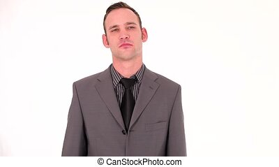Young businessman making a negative