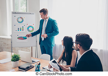 Young businessman making presentation and showing diagrama on whiteboard