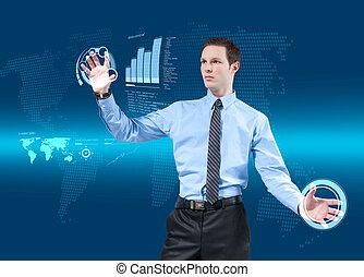 Young businessman navigating holographic virtual reality...