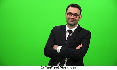 Young Businessman On A Green Screen
