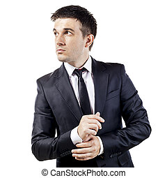 young businessman on white  background