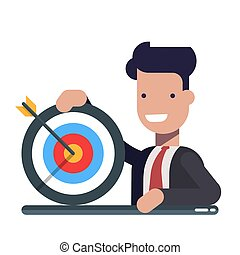 Young businessman or manager with a target in hand. The concept of achieving the goal. Defeat the arrow. Flat vector illustration isolated on light background.