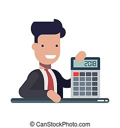 Young businessman or manager with calculator in hands. An...