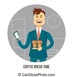 Young businessman or office worker with two cups of coffee agrees on smartphone with friends or colleagues about coffee break. Chatting Interaction Socializing Concept