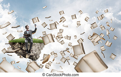 Young businessman or student studying the science and books...
