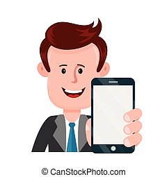 Young businessman person holding smartphone