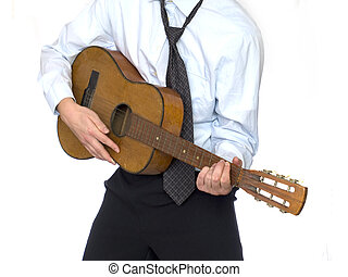 Young businessman playing on kytar guitar