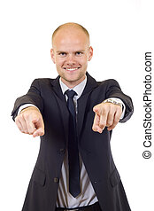 young businessman pointing to you
