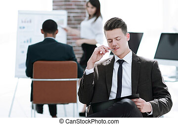 young businessman preparing for a business presentation