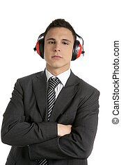 Young businessman protecting from noise