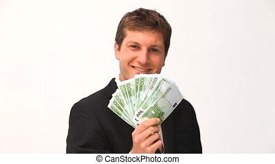 Young businessman proud of what he earned