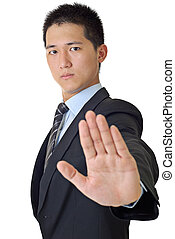 reject - Young businessman reject gesture with confident...