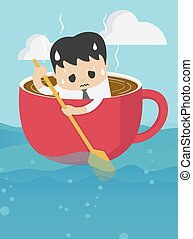Young businessman rowing coffee cup in sea vast