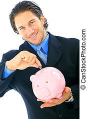 Young Businessman Saving Money