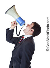 Young businessman shouts loudly into megaphone overhead