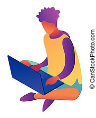 Young businessman sitting cross-legged with laptop isometric...