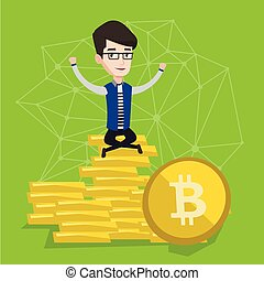 Young businessman sitting on gold bitcoin coins.