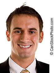 Young Businessman Smiling Closeup