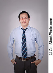 Young Businessman Smiling Friendly Expression