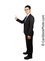 young businessman standing and thumb up