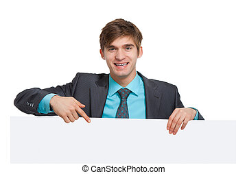 young businessman - businessman holding a blank white card...