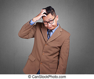 Young Businessman Stressed, Confused Expression