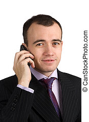 young businessman talking on his mobile phone