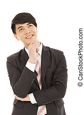 young  businessman Thinking and standing on white background