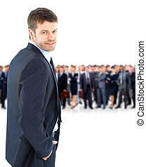 young businessman turned back