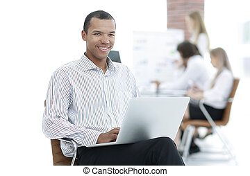 businessman typing on laptop. photo with copy space