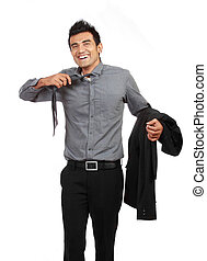 young businessman untying his tie