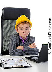 Young businessman using a laptop