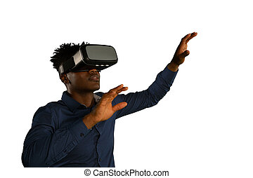 Young businessman using a VR headset - Side view of a young ...