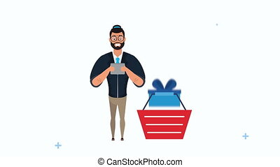 young businessman using tablet with shopping basket