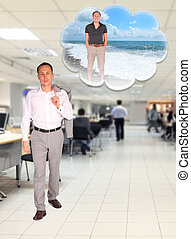 young businessman walks in office dreaming about rest on beach collage