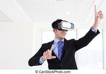 young Businessman wearing vr glass at office