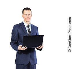 young businessman with a laptop on  white background