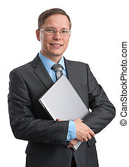 young businessman with a laptop smiling