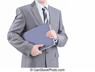 young businessman with a laptop.isolated on white