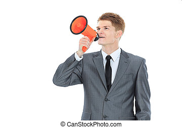 young businessman with a megaphone.isolated on a white