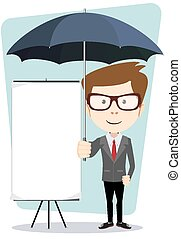 Young businessman with a poster and an umbrella, vector illustration