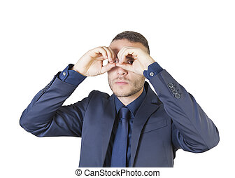 businessman with binocular hands