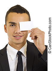 Young businessman with blank card