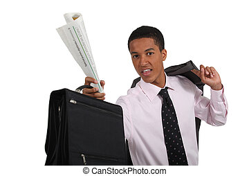 Young businessman with briefcase and newspaper