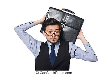 Young businessman with briefcase isolated on white